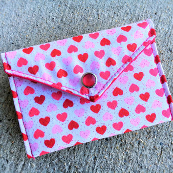 Valentines Gift Card Holder - Red Pink Love Heart
