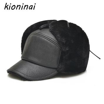 Trendy Winter Jacket Kioninai 2017 Winter Hats Snapback Cap Men Warm PU Leather Dad Hat Fur er Hats Men With Earflaps Outdoor Gorras Casquette AT_92_12