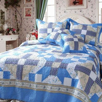 Blue Floral Abstract Reversible Patchwork Quilted Coverlet Bedspread Set (DXJ103110)