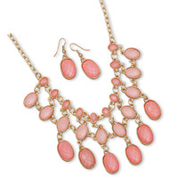 Gold Tone Pink Bead Drop Necklace Set