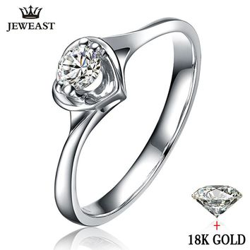 Natural diamond Ring 18k Gold Wedding Female Propose Engagement Anniversary Custom 2017 New Hot Sale Women 100% Good Party