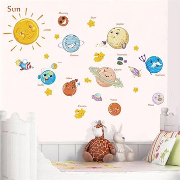 lovely solar system wall stickers for kids rooms home decor outer space planets earth sun saturn mars wall decals diy mural art