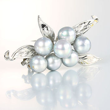 Blue Pearl Brooch , Vintage jewelry Sterling silver Berry Leaf Wedding jewelry Mikimoto style