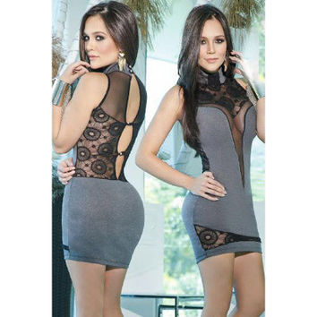 2017 Trending Fashion Hollow Bandage Lace Slim Backless High Collar Neck Package Hip Sleeveless One Piece Dress _ 11871