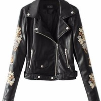Floral Embroidered Leather Moto Jacket