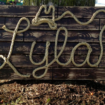 "LYLA: 27"" Western Rope Name Sign Cowboy Theme Room Nursery- Brown Wood Grain Finish-(001)"