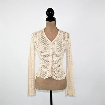 Boho Cardigan Women Small Sweater Beige Ecru Lace Knit Cotton Hemp Boho Clothing J Jill Vintage Clothing Womens Clothing