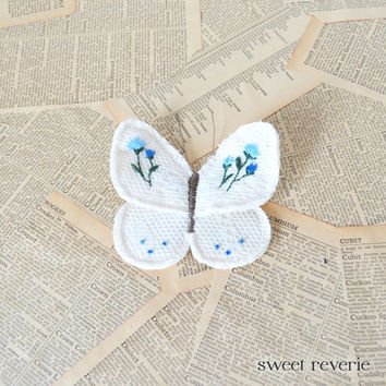 Spring Butterfly - Flower Garden Embroidered Textile Art - Blue and Emerald Floral - DIY Brooch Pin for Mothers Day, Birthday, Wedding