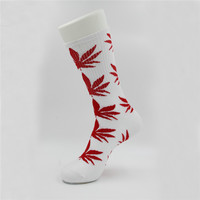Marijuana Weed Leaf Printed Cotton Long Socks (White - Red)