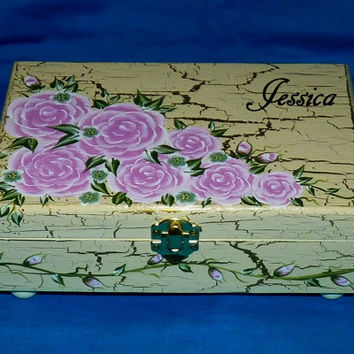 Personalized Tea Box Wood Tea Chest Organizer Hand Painted Custom Tea Bag Storage Tea Pot Shabby Chic Pink Roses Gold Anniversary Gift