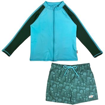 "Baby Boy Long Sleeve Rash Guard Swimsuit Board Shorts Set UPF 50+ | ""Jelly Jellyfish"""