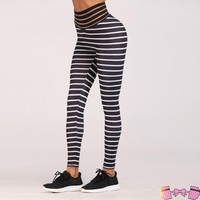 Peachy Rose Stripped High Waisted Fitness Fashion Leggings