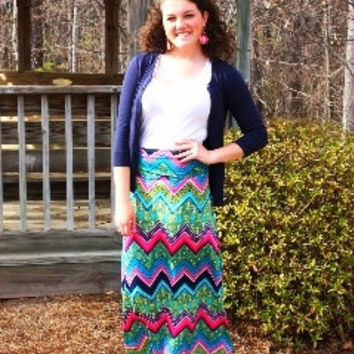Multi Colored Chevron Maxi Skirt