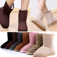 Free Shipping Pick Women Girl Winter Warm Mid-calf Snow Boots Shoes  O038