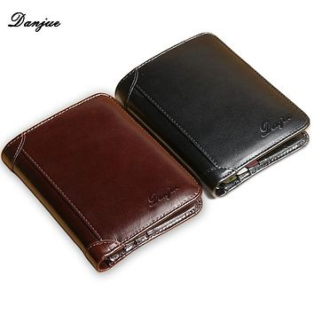 Wallet for Men Genuine Cow Leather High Quality New Cowhide Purse Trifold Designer Business Card Holder Male