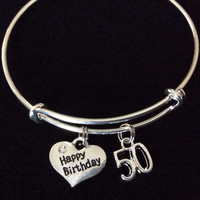 Happy 50th Birthday Expandable Charm Bracelets Adjustable Bangle Gift (Other Numbers Available)