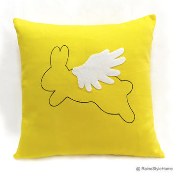 When Rabbit Flys. Hand Drawn Flying Rabbit Sunshine Yellow Decorative Pillow Cover. Children Room Cushion Cover. Cute Nursery Pillow