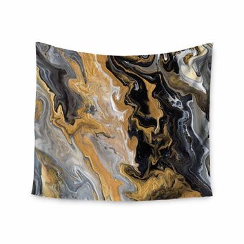 """Catherine Holcombe """"Gold Vein Marble"""" Black Gold Abstract Geological Painting Wall Tapestry"""