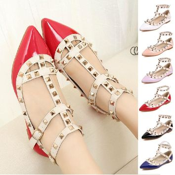 Womens T-strap Studded Rivet Metal Flats Pointed Toe Shoes Single Sandals Shoes