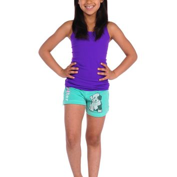Butter Kids Spotted Pup Gym Short - Teal