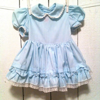 Vintage Baby Clothes/ Powder Blue Vintage Party Swing Dress with Lace Trimmed Peter Pan Collar and Ruffles/18 Months-2T/