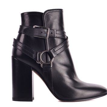 Gianvito Rossi Womens Black Leather Shetland Ankle Boots