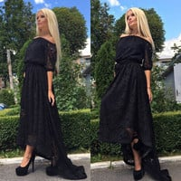 2016 Sexy Women Lace Dresses Casual  Cold Shoulder Half Sleeve Party Dress Maxi Dress Vestidos Black White Plus Size M0513