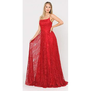 Lace-Up Back A-Line Metallic Lace Long Prom Dress Red