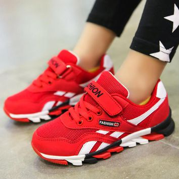 Cheap Children shoes boys sneakers girls sport shoes Athletic child students trainers Outdoor breathable kids Jogging shoes Red