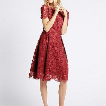 Cotton Blend Lace Swing Dress | Marks & Spencer London