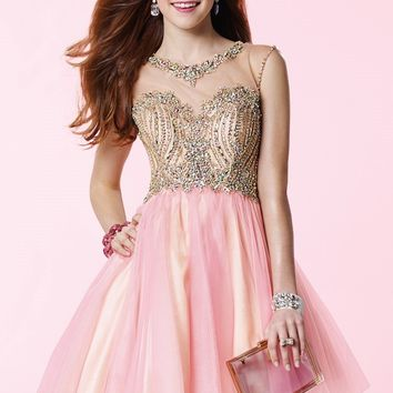 Alyce Prom 3645 Beaded Cap Sleeve Layered Tulle Dress