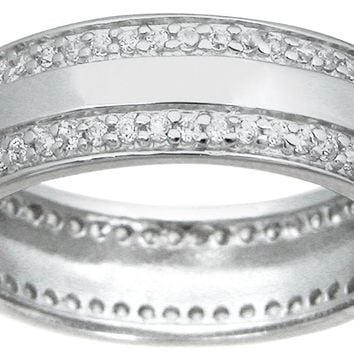 Women, Men and Couples Wide Cz Sterling Silver Eternity Wedding Band