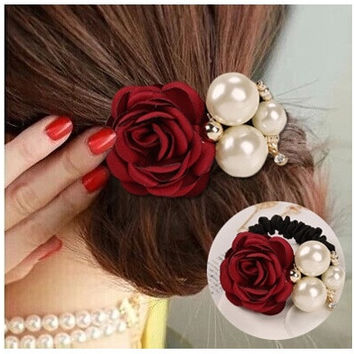 Pearl ring high elastic hair rope Korea Camellia Flower Rhinestone Tiara Tousheng headdress flower. [8833669388]