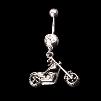 New Personality Body Piercing Jewelry Motor Shape Rhinestone Barbell Belly Button Navel Ring
