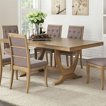 7 pc Barrister collection rustic distressed natural wood finish trestle base dining table set