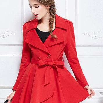 Red Tie Waist Long Sleeve Trench Coat