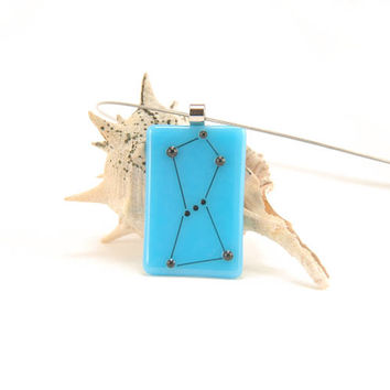 Orion, the Hunter constellation, turquoise blue fused glass necklace, Space Oddity
