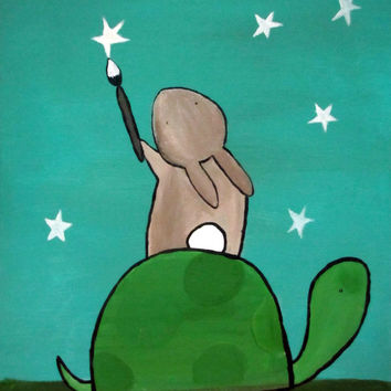 Childrens Wall Art, Painting Stars Turtle and Bunny Rabbit Original Painting, Woodland Nursery Art, Kids Room Decor, Original Acrylic