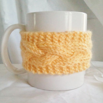 Yellow Coffee Cozy Coffee Sleeve Cup Cozy Mug by MadebyMegShop