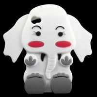Cute 3D Cartoon Elephant Silicone Case Cover Skin for iPhone 4 4S White:Amazon:Cell Phones & Accessories