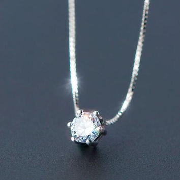 womens girls unique twinkle crystal necklace 925 sterling silver gift 81
