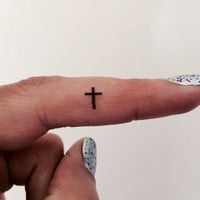 Cross Temporary Tattoo Tiny Cross / Fake Tattoos / Set of 10 / Tattoo
