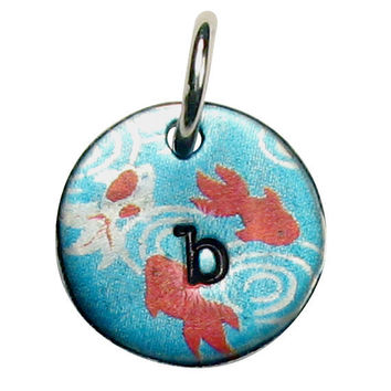 Hand Stamped Initial Necklace with Koi by kathylorockskeepsake