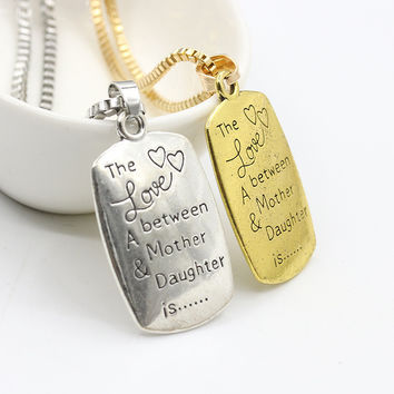 "European Style  Creative Fashion Necklace ""The Love between A Mother & Daughter is "" Letter Pendant Necklare for Mother Gift"