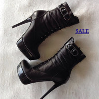 Sexy,Boots Black,100%leather,Stiletto heels,high heels,size,8,couture,designer,leather shoes,Evening,disco,boots,high heels,shoes,gift,SALE,