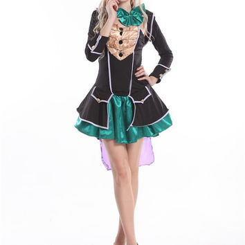 2014 walson instyles sexy ladies dress up cosplay costume mad hatter costumes for women