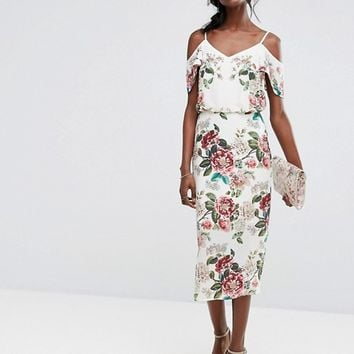 Oasis Royal Worcester Floral Print Cold Shoulder Dress at asos.com
