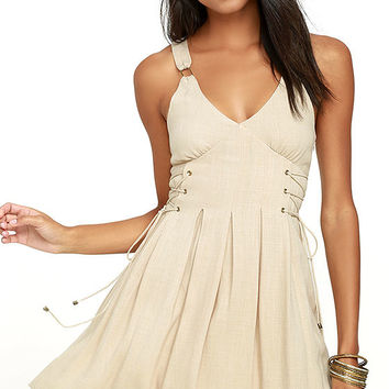 Moon River Cavalry Light Beige Dress