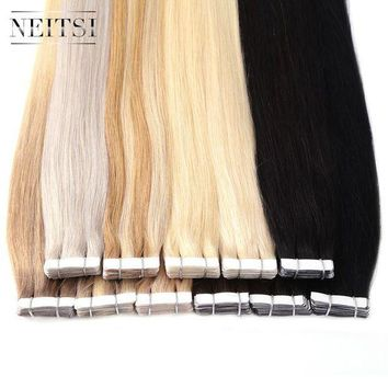 CREY78W Neitsi Brazilian Straight Skin Weft Hair Tape In None Remy Human Hair Extensions 22' 2.2g/s 40pcs 14 Colors Adhesive Tape Hair