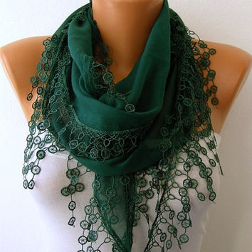 Emerald Green Scarf  -  Scarf -Cotton Cowl Scarf - Shawl  with Lace Edge   -fatwoman - Bridesmaids Gifts